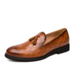 New              Men Brogue Tassel Decor Microfiber Leather Slip On Party Formal Shoes