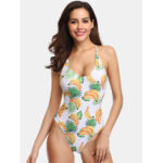 New              Women Banana Print Criss-Cross Spaghetti Straps One Piece Beach Swimwear
