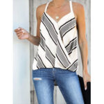 New              Stripe Halter V-neck Sleeveless Summer Casual Cami