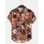 New              Banggood Design Halloween Cartoon Funny Print Turn Down Collar Short Sleeve Shirts