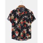 New              Mens Floral Print Chest Pocket Vintage Short Sleeve Shirts