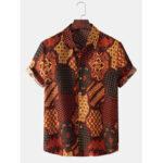 New              Ethnic Style Bandana Print Mens Lapel Collar Short Sleeve Shirts