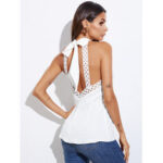 New              Backless Lace Trim Self-tie Design Halter Sleeveless Tank Top