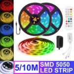 New              5M 10M Flexible RGB LED Strip Light Non-waterproof SMD5050 Color Changing Tape Lamp with Remote Control DC12V