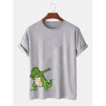 New              Mens 100% Cotton Funny Caroon Dinosaur Print Casual Short Sleeve T-Shirts