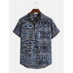 New              Mens Design Abstract Geometric Lines Vintage Short Sleeve Stand Collar Shirts