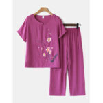 New              Women Plus Size Flowers Print Loungewear Set Breathable Mandarin Button Loose Pajamas