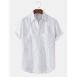 New              Mens Vertical Stripes Big Pocket Short Sleeve Casual Shirts