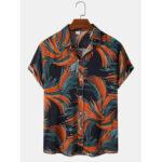 New              Mens Designer Print Short Sleeve Lapel Collar Casual Shirts