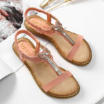 New              Women Rhinestone Bowknot Elastic Band Slip On Flat Sandals