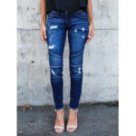 New              Women Skinny Pocket Hollow Ripped Jeans