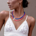 New              Bohemian Pearl Pendant Multi-layer Necklace Mixed Color Polymer Clay Clavicle Chain