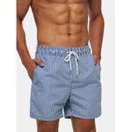 New              Mens Lightweight Blue Striped Quick Drying Beach Mesh Line Drawstring Casual Shorts