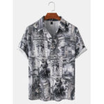 New              Mens Vintage Ethnic Style Landscape Print Casual Short Sleeve Shirts