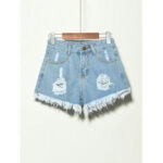 New              5 Colors Women Pocket Hollow Ripped Denim Shorts