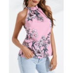 New              Women Causal Random Floral Print Halter Sleeveless Cami