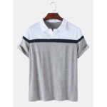 New              Mens Colorblock Casual Sport Short Sleeve Golf Shirts