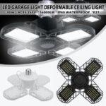 New              E27 80W LED Garage Lights Deformable Garage Ceiling Light LED Bulb 4 Deformable Panels