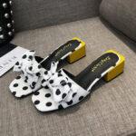 New              Women Wave Point Bow Decor Pattern Low Heel Sandals