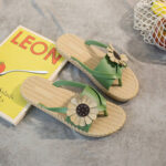New              Womens Clip Toe Sunflower Beach Massage Soles Slide Sandals