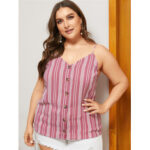 New              Plus Size Pink Button Design Striped V-neck Sleeveless Tank Top