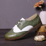 New              LOSTISY Color Block Lace Up Casual Women Brogue Flats Shoes
