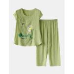 New              Women Plants Print Plus Size Pajamas Soft Breathable Summer Loungewear