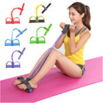 New              4-Tubes Fitness Elastic Sit Up Pull Rope With Pedal Abdominal Training Body Shaping Yoga Resistance Band