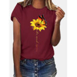 New              Sunflower And Butterfly Print Crew Neck Short Sleeves Casual Tee