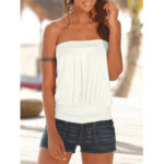 New              Summer White Solid Color Strapless Sleeveless Casual Tube Tank Top