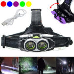 New              XANES® 7305-B 4-Modes 2xT6 LED USB Rechargeable Headlamp Outdoor Waterproof Head Torch Ultra Bright Search Head Light