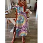 New              Women Short Sleeve Crew Neck Floral Print Summer Split Maxi Dress