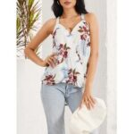 New              Floral Print Halter V-neck Patchwork Holiday Sleeveless Tank Top