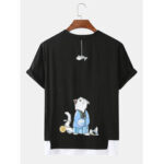 New              Cute Cartoon Cat Back Print Cotton Round Neck Short Sleeve Loose T-Shirts