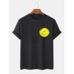 New              Mens 100% Cotton Smile Face Printed Round Neck Casual Short Sleeve T-Shirts