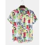 New              Design Colorful Letter Print Button Up Pocket Short Sleeve Mens Shirts