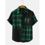 New              Mens Plaid Color Block Short Sleeve Cotton Shirts With Pocket