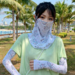 New              Women Sunscreen Outdoor UV Protection Ice Silk Sleeve Arm Guard Sleeve Cover Face Breathable Veil Mask