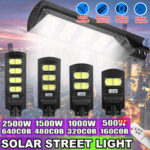New              160/320/480/640COB LED Solar Street Light PIR Motion Sensor Outdoor Wall Lamp With Remote Control