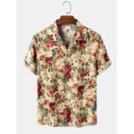 New              Cotton Multiple Floral Print Button Up Hawaii Holiday Short Sleeve Shirts
