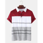 New              Mens Color Block Short Sleeve Casual Sport Golf Shirts