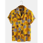 New              Mens Funny Geometric Print Short Sleeve Casual Holiday Revere Shirts