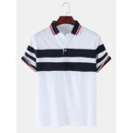 New              Mens Patchwork Color Splice Casual Short Sleeve Golf Shirt