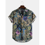 New              Mens Cotton Vintage Style oriental Floral Print Lapel Collar Casual Short Sleeve Shirts