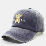 New              Men Cotton Embroidery Bear Printing Solid Color Washed Cloth Outdoor Visor Adjustable Baseball Hat