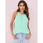 New              Solid Color Halter Design Pleated Sleeveless Chiffon Tank Tops