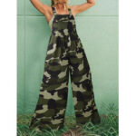 New              Women Sleeveless Camouflage Print Button Wide Leg Casual Jumpsuits
