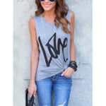 New              Grey Letter Pattern Round Neck Sleeveless Basic Casual Tank Top