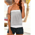 New              Stripe Pleated Tank Tops Strapless Casual Sleeveless Cami