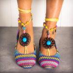 New              LOSTISY Beaded Chain Rainbow Stripe Cloth Bohemia Casual Flat Shoes